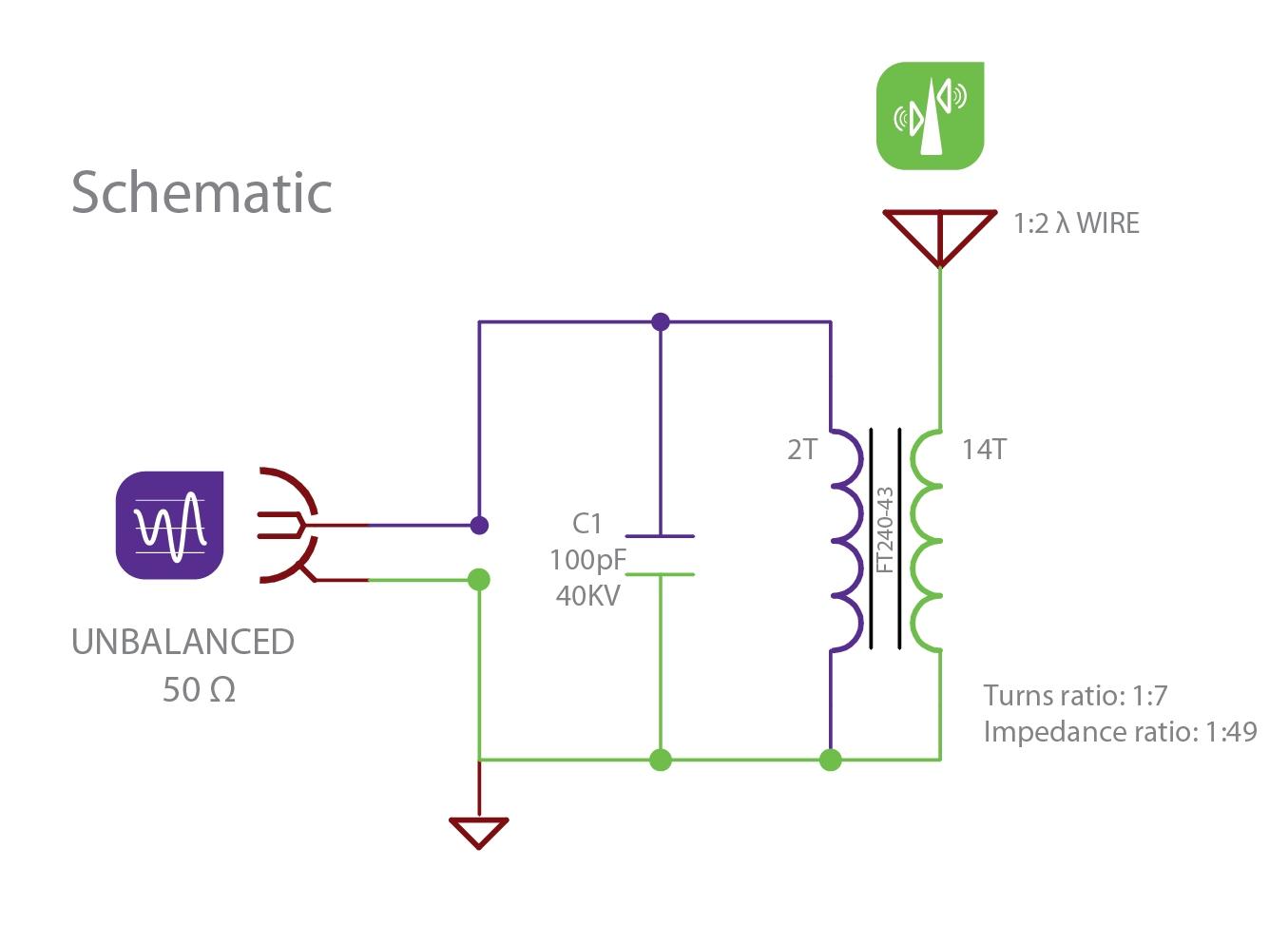 Transformateur d'impédance ( UNUN ) 1:49 sur eBay 500 Watts / Balun Schema