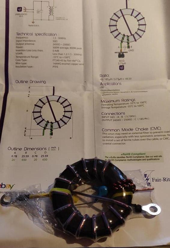 Transformateur d'impédance ( UNUN ) 1:49 sur eBay 500 Watts / Balun Transfo-04