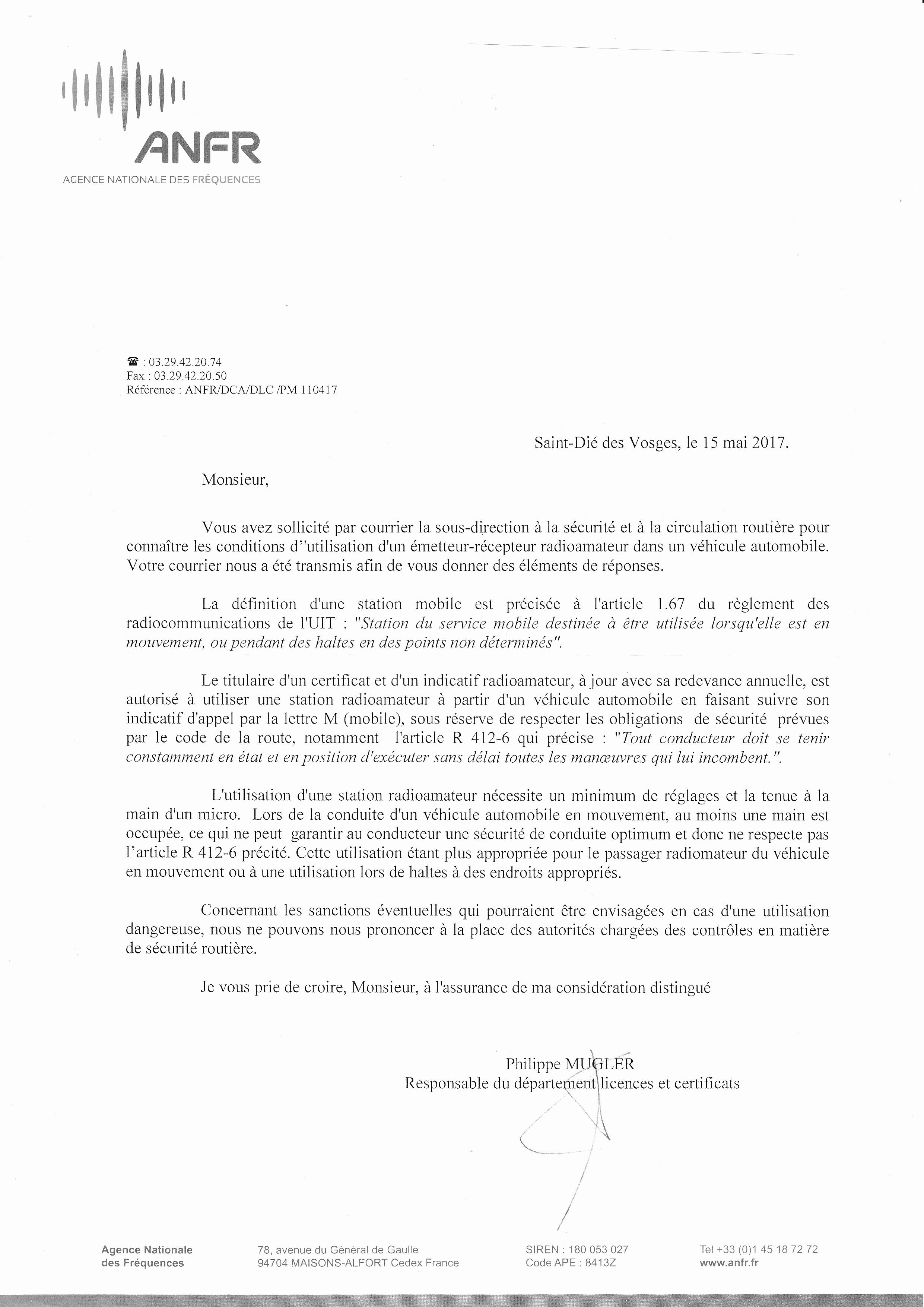 Trafic radioamateur en mobile et réglementation française - Réponse de l' ANFR ANFR_conduite_mobile_micro